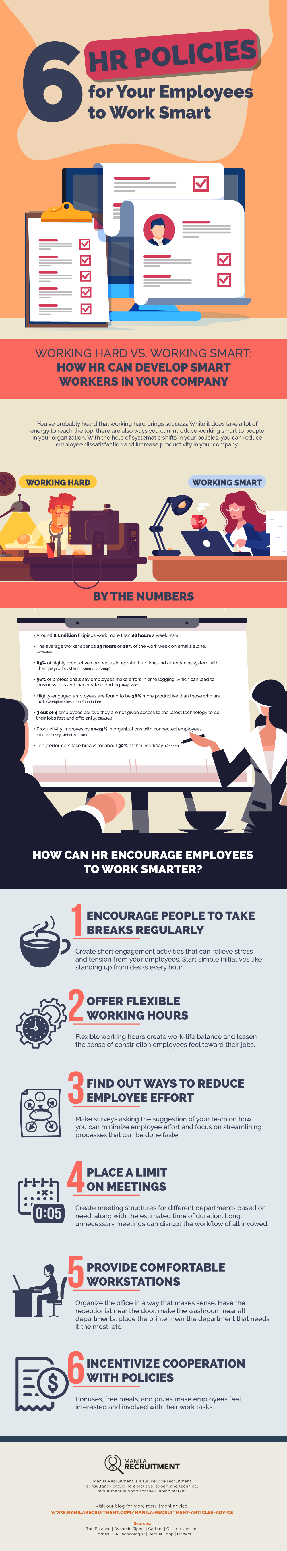 6 HR Policies for Your Employees to Work Smart Infographic